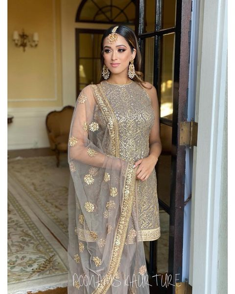 Kameez . heavy thread and sequins work on georgette  Duppatta . sequins and thread work on net  Pajami . matching  lycra  Can be customized in any colour  2021-10-13