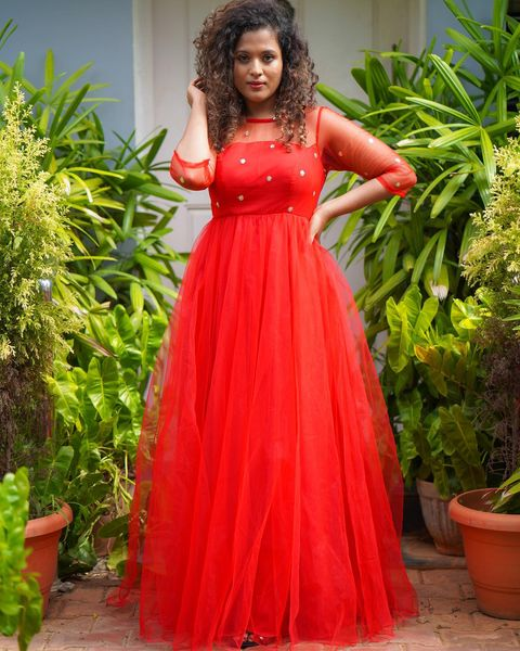 RED SEQUINS NET ANARKALI with net sleeves. 2021-10-13