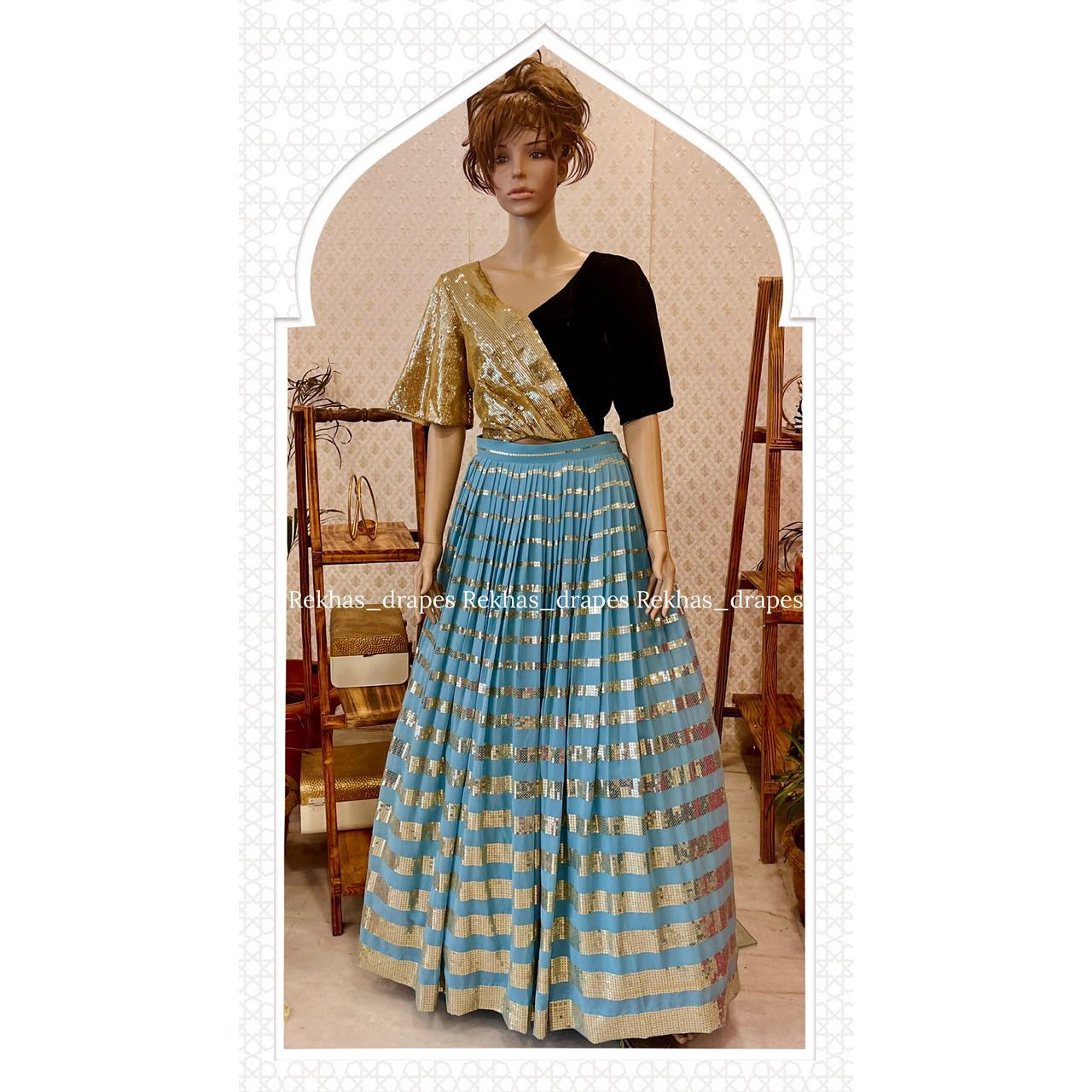 Stunning sky blue color gold striped skirt and crop top. 2021-10-13