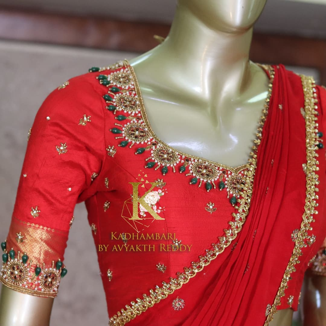 Gorgeous traditional off white and red color combination pattu langa voni. This outfit is Available@12800/- 2021-10-13