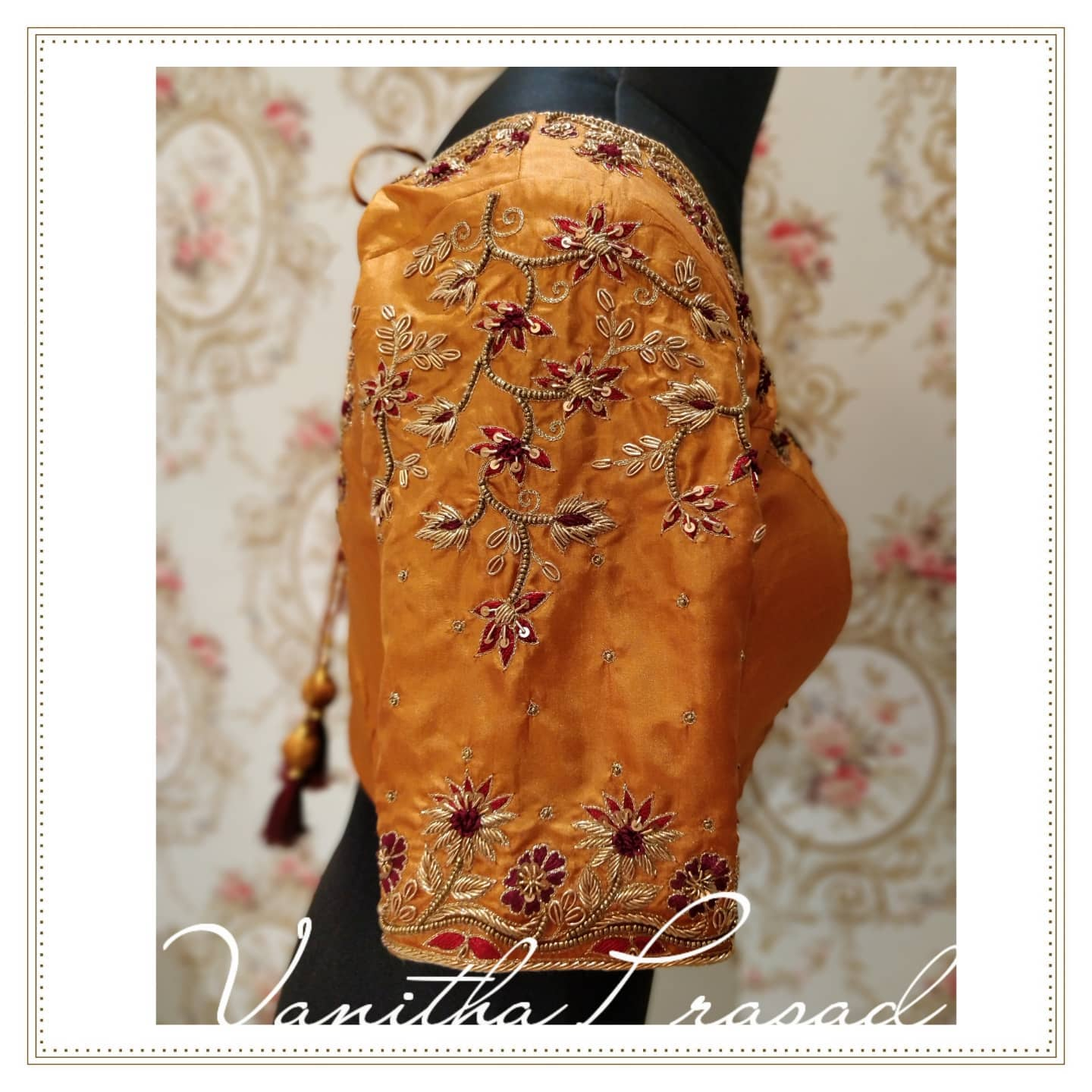 Gorgeous bridal blouse sleeve with floral creeper hand embroidery thread and bead maggam work.  2021-10-14