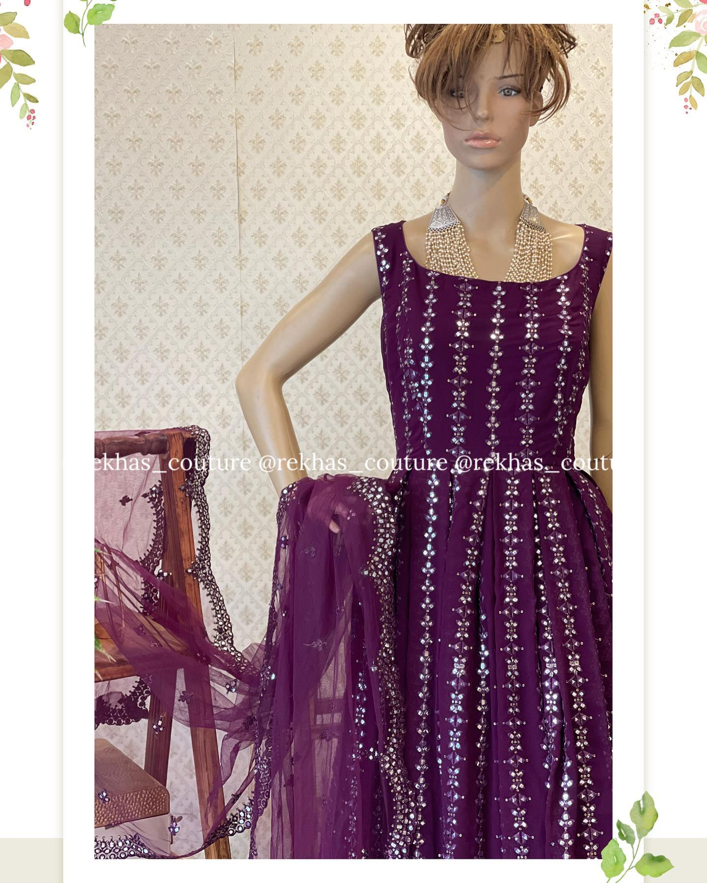 Diwali sparkles on the way! Gorgeous purple color floor length dress with hand embroidery glass bead work and net dupatta.  2021-10-14
