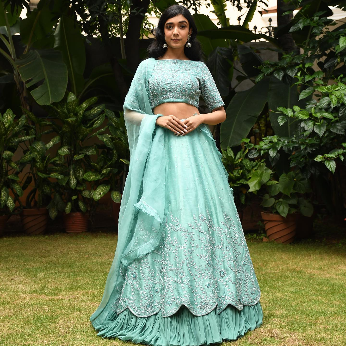 Phulwari . Ishna in Skyline blue heavy lehenga set. It has an embellished blouse and lehenga with intricate layering and an organza dupatta to complete the look.  To shop our new collection Phulwari DM  or Whatsapp  on +91 99083 48333. 2021-10-14
