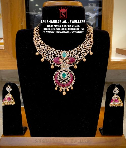 Latest Open Close Setting Diamond Necklace and Diamond Jhumkas at reasonable prices! Please visit on video call 7702434540 //9849968171 //9966118893 //7702034540. 2021-10-14