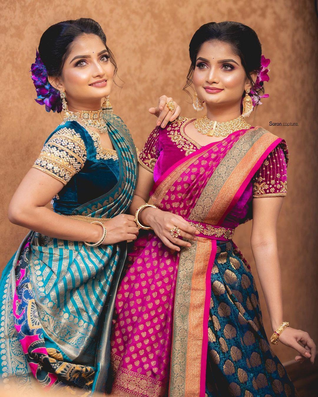 Stunning velvet bridal blouse with classy bead and stone aari work. 2021-10-14