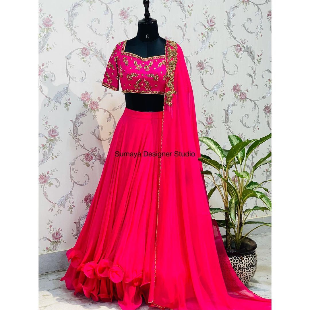 Dressing well is not about fashion or vanity. It's about self-expression  self-acceptance self-love and teaching others how to treat you. Stunning layered lehenga and blouse with dupatta. Blouse with bead hand embroidery work.  2021-10-14
