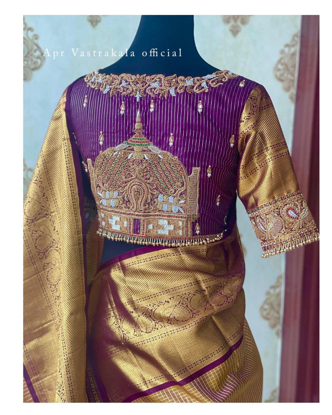 Stunning purple color bridal blouse with temple Gopuram hand embroidery bead aari work. 2021-10-14