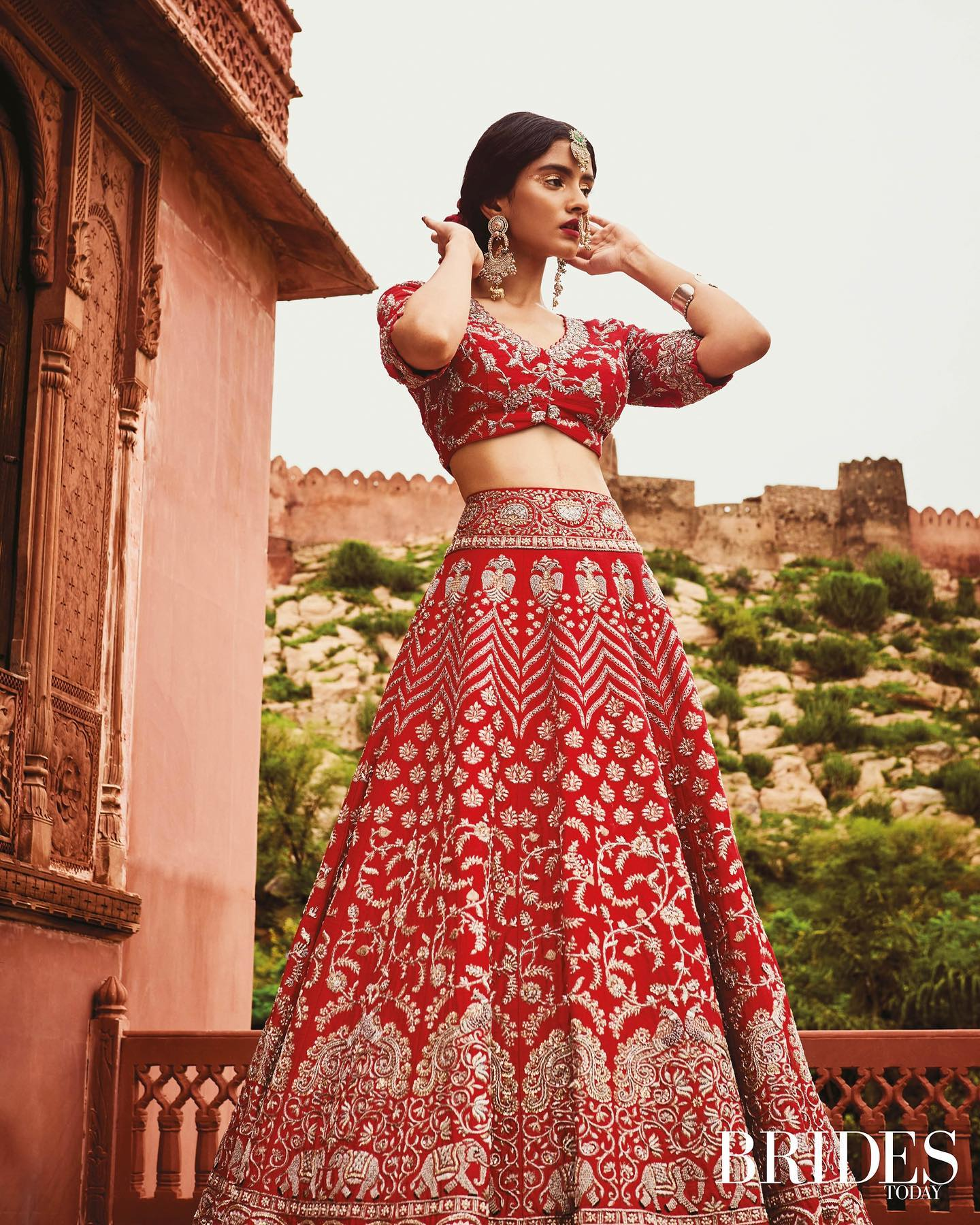 Mrunalini Rao and team delighted to be featured in Brides todayin latest issue that celebrates the colour of love.  Seen here is Vana Indrani Lehenga.  2021-10-15