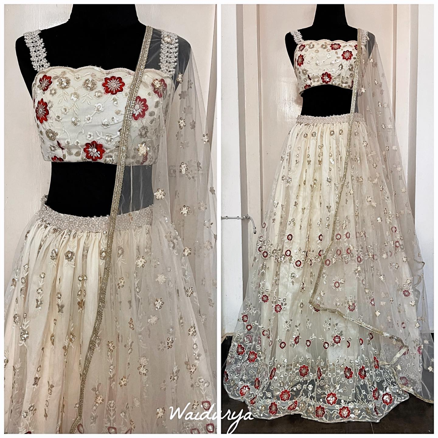 PARI is the ultimate simple bridal lehenga. It's that beautiful head turning yet demure look. It's an ivory and red beautifully embroidered floral design. The sequin and thread work embroidery is intricate and stunning. The lehenga is adorned with a hand worked pearl waist band and the blouse straps are also hand worked with pearls. The dupatta is a soft net hun ivory with thread and sequin embroidered flower motifs all over. The border is a dull gold textured one. Love this whole look!!!! 2021-10-15