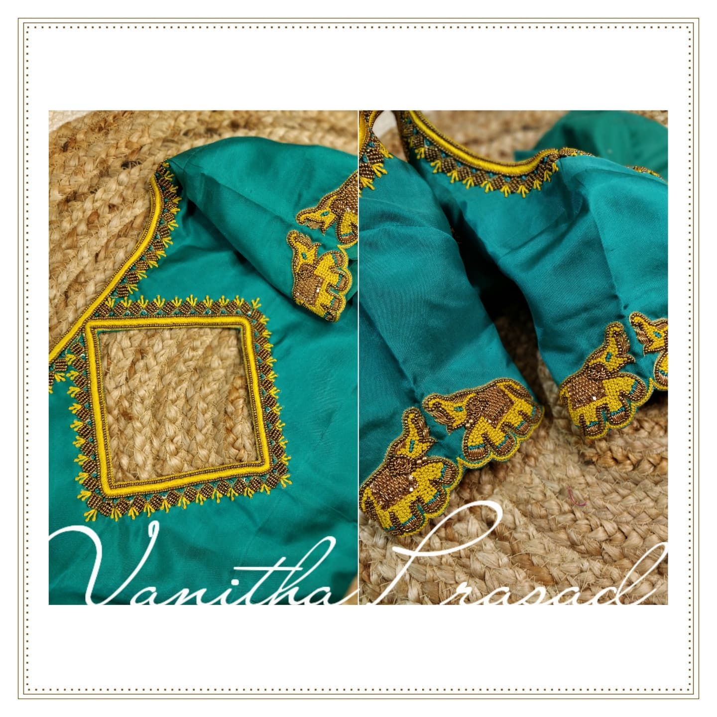 Gorgeous powder blue color blouse with elephant motifs hand embroidery thread work on sleeves.  2021-10-16