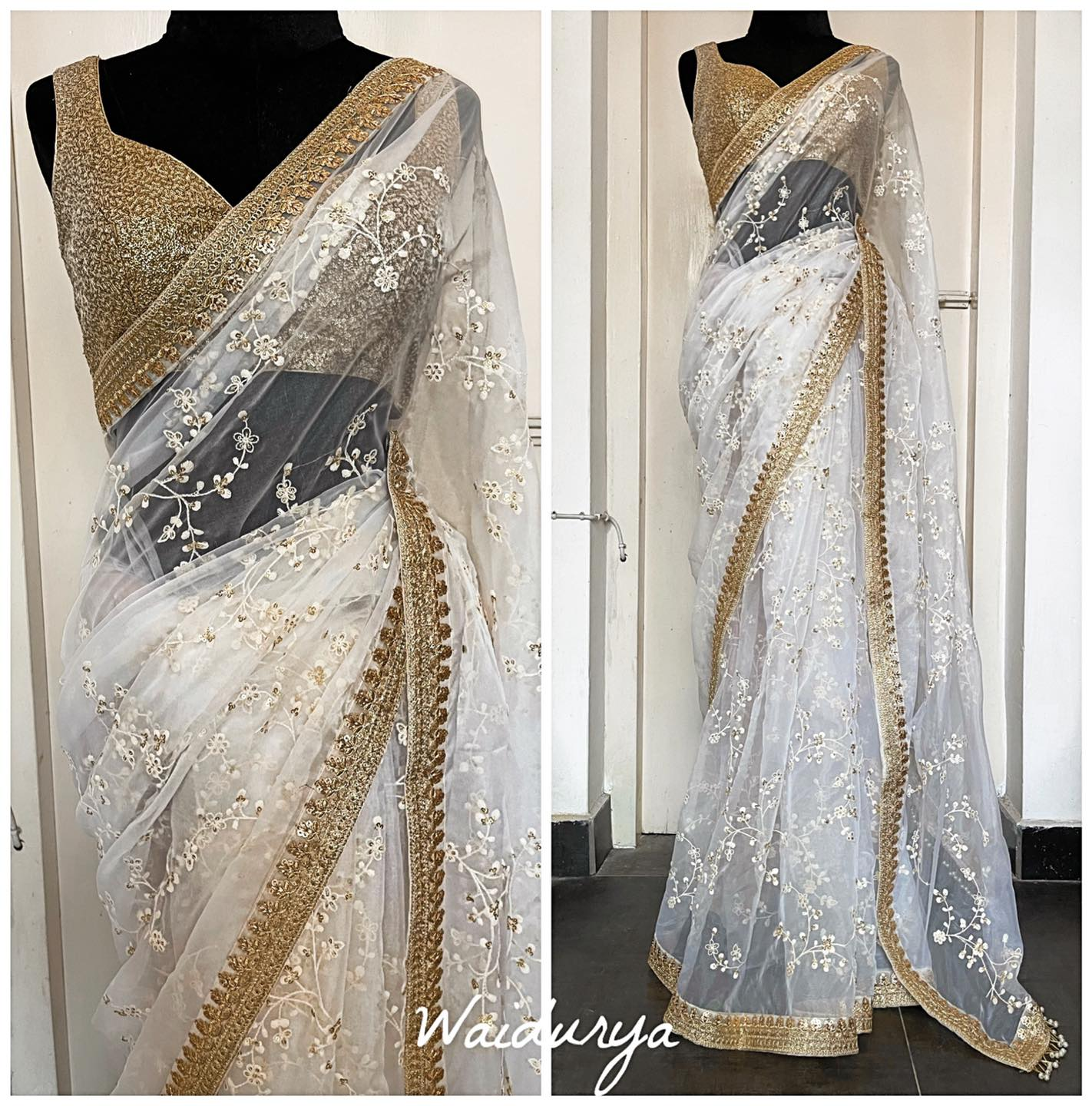 PREET is the perfect simple bridal sari. It's elegant and oh so pretty! Silk organza in an ivory with intricate thread work and sequin embroidered all over. The border is a gold sequin embroidered one in an elaborate design. The sari is completed with hand made pearl tassels. The blouse is a heavily embroidered gold sequin one. Just stunning!!!!! 2021-10-16