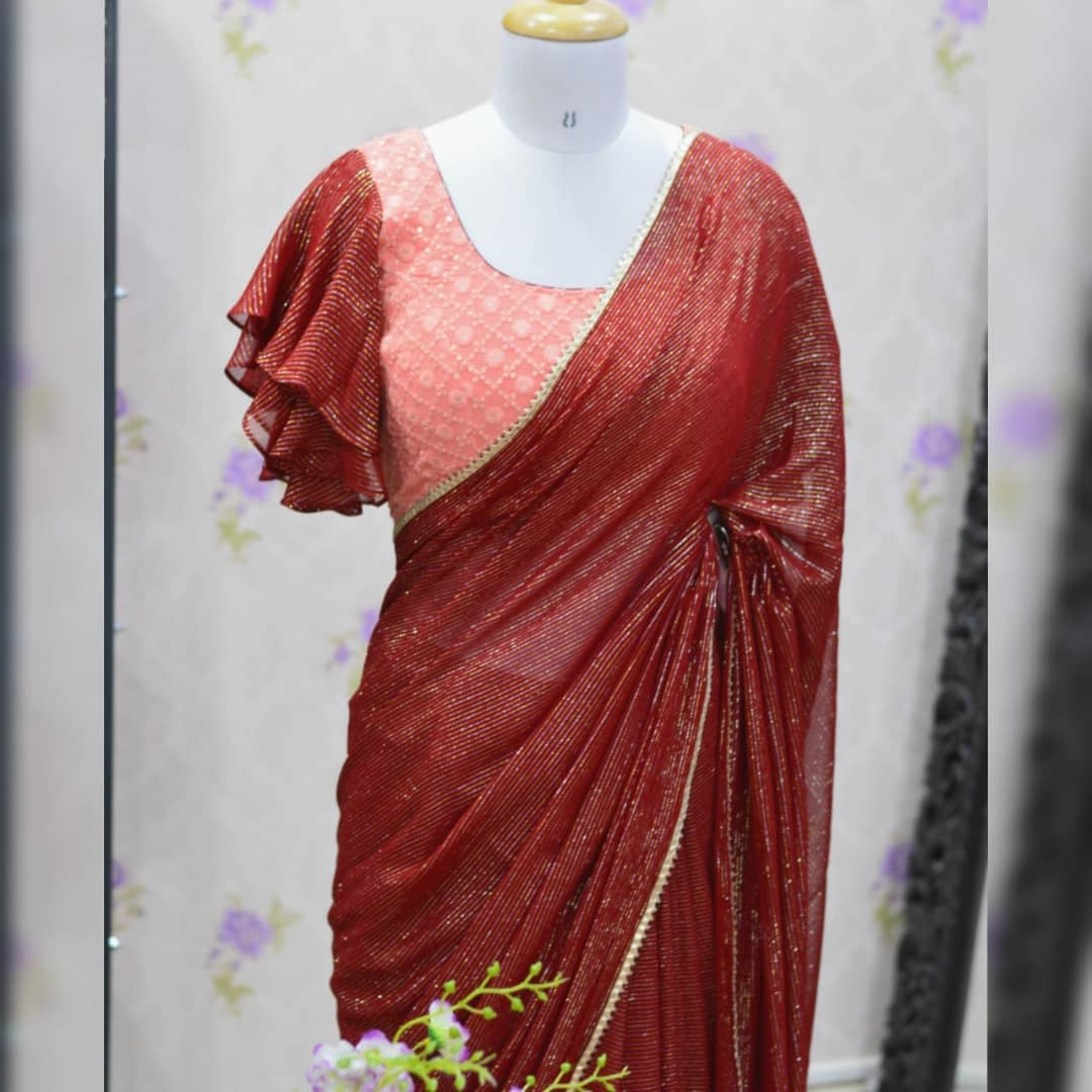 Awesome ..Maroon pure Georgette saree paired up with nice chikinkari work blouse.  Blouse sizes can be customized. Collection no:083SHV For price details inbox  or watsapp on +917799503713. 2021-10-17