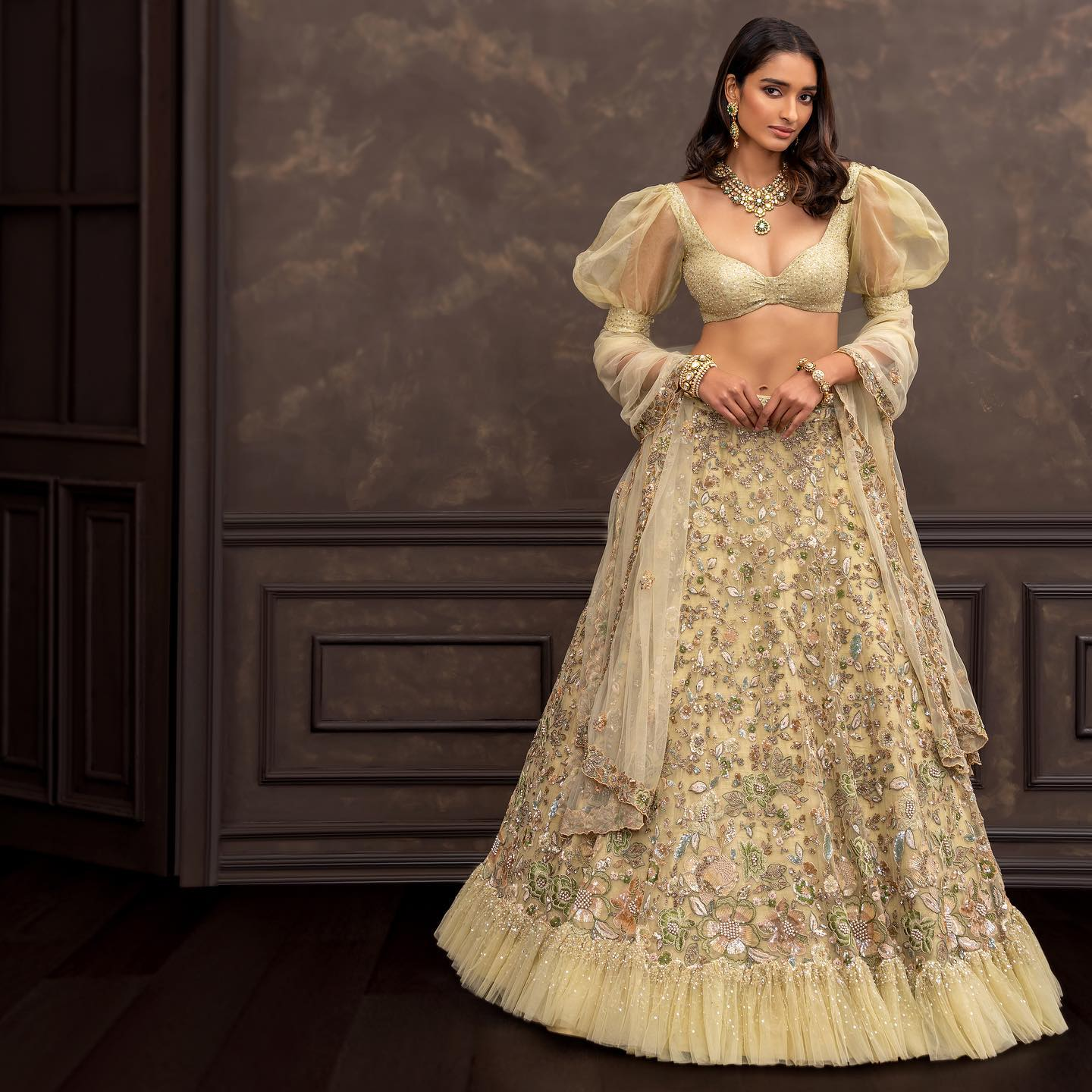 Gorgeous resham hand embroidery bridal lehenga and bell sleeves sequin blouse.  2021-10-17