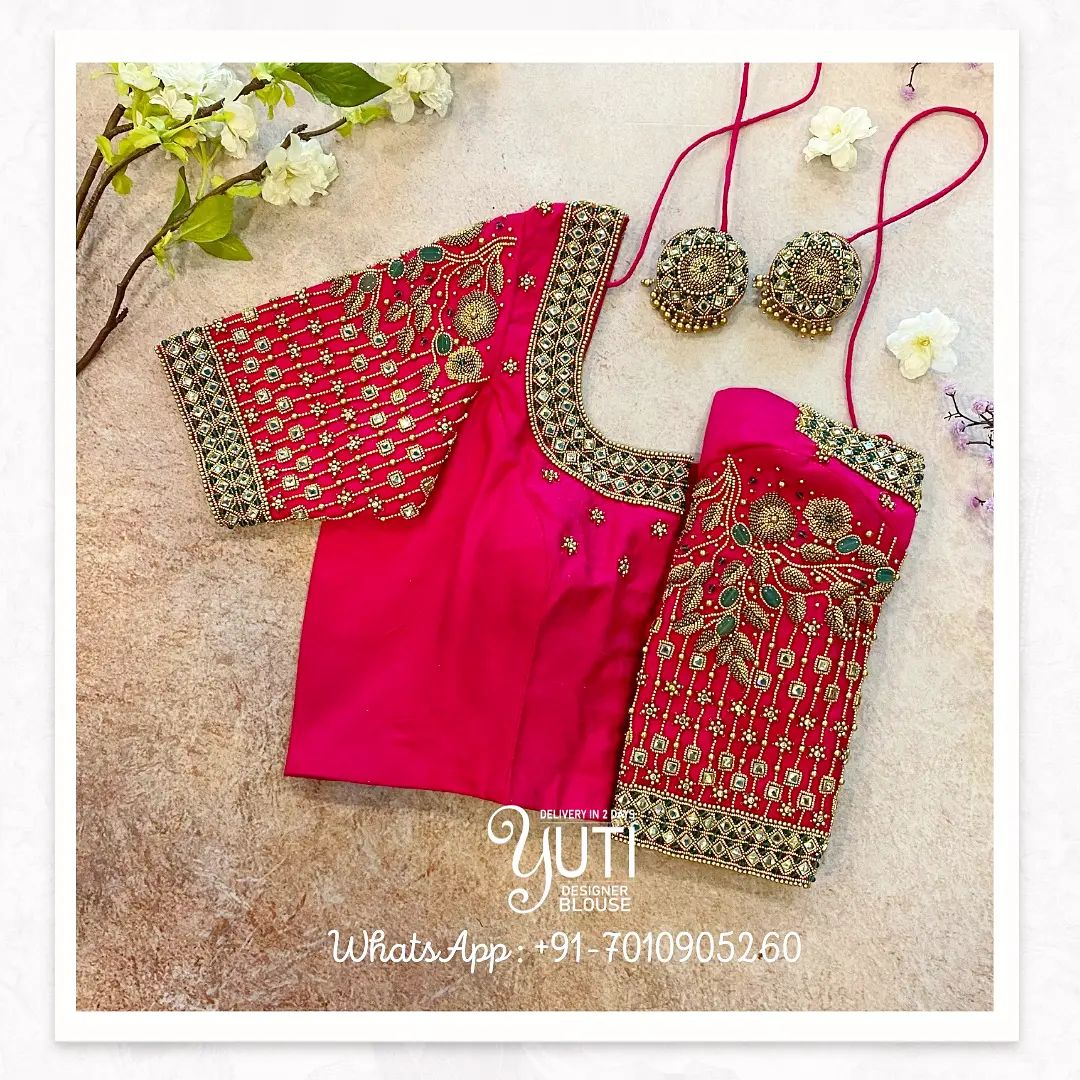 Gorgeous pink color bridal blouse with bead and stone floral creeper zardosi work.  2021-10-17