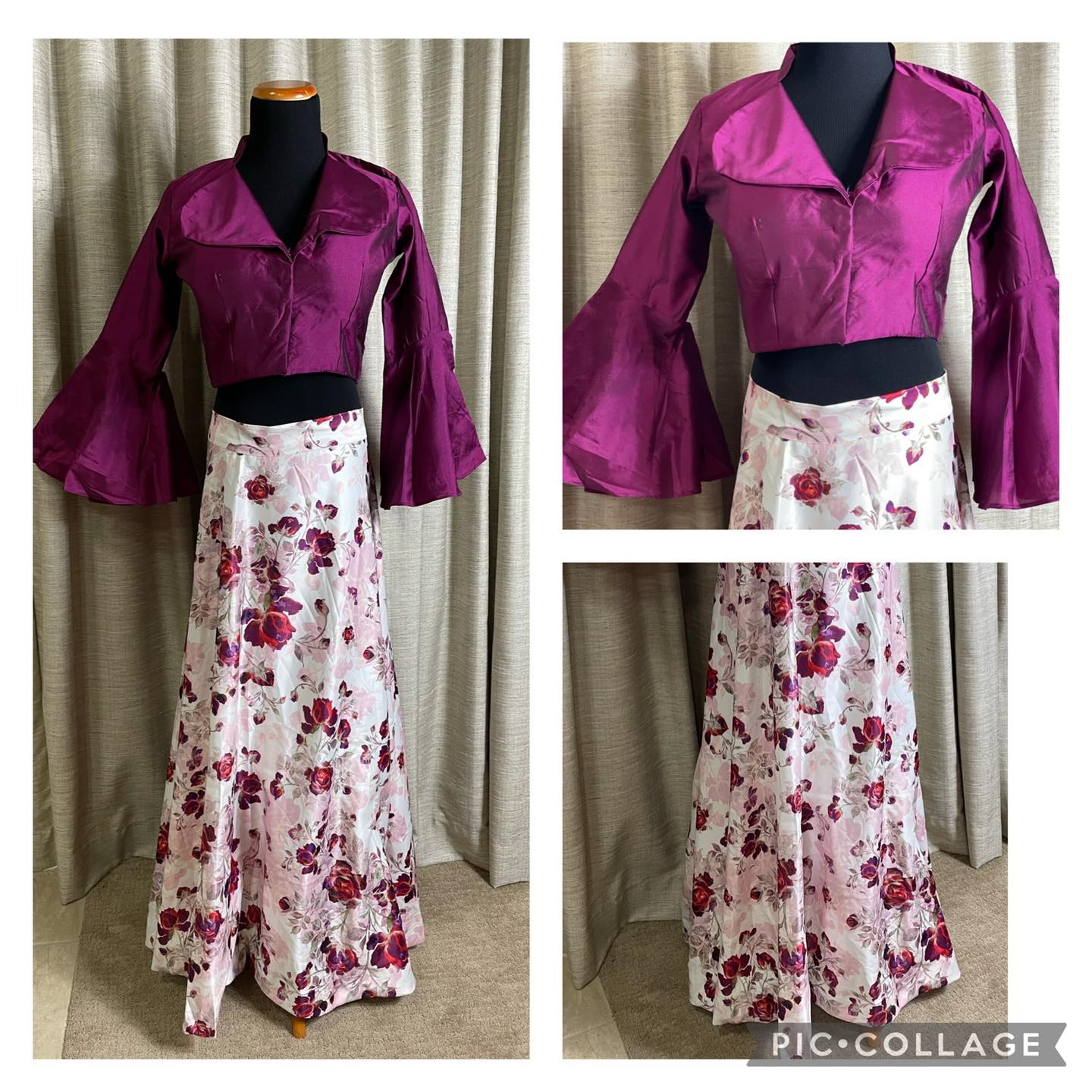 Pretty Satin skirt with barkham to give it body and flared sleeves silk cotton top. Skirt waist - free sz  length 42 inches  blouse sz 36/38( will not extend beyond ) . Price : $68+ shipping. 2021-10-17