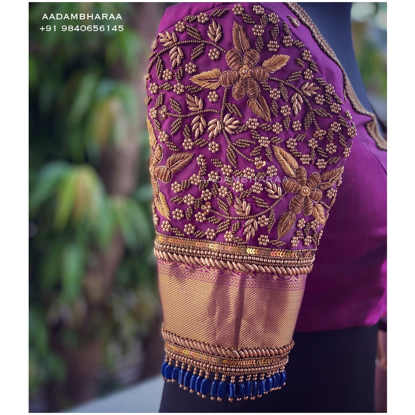 Gorgeous purple color bridal blouse with floral and creeper hand embroidery bead zardosi work.  2021-10-18