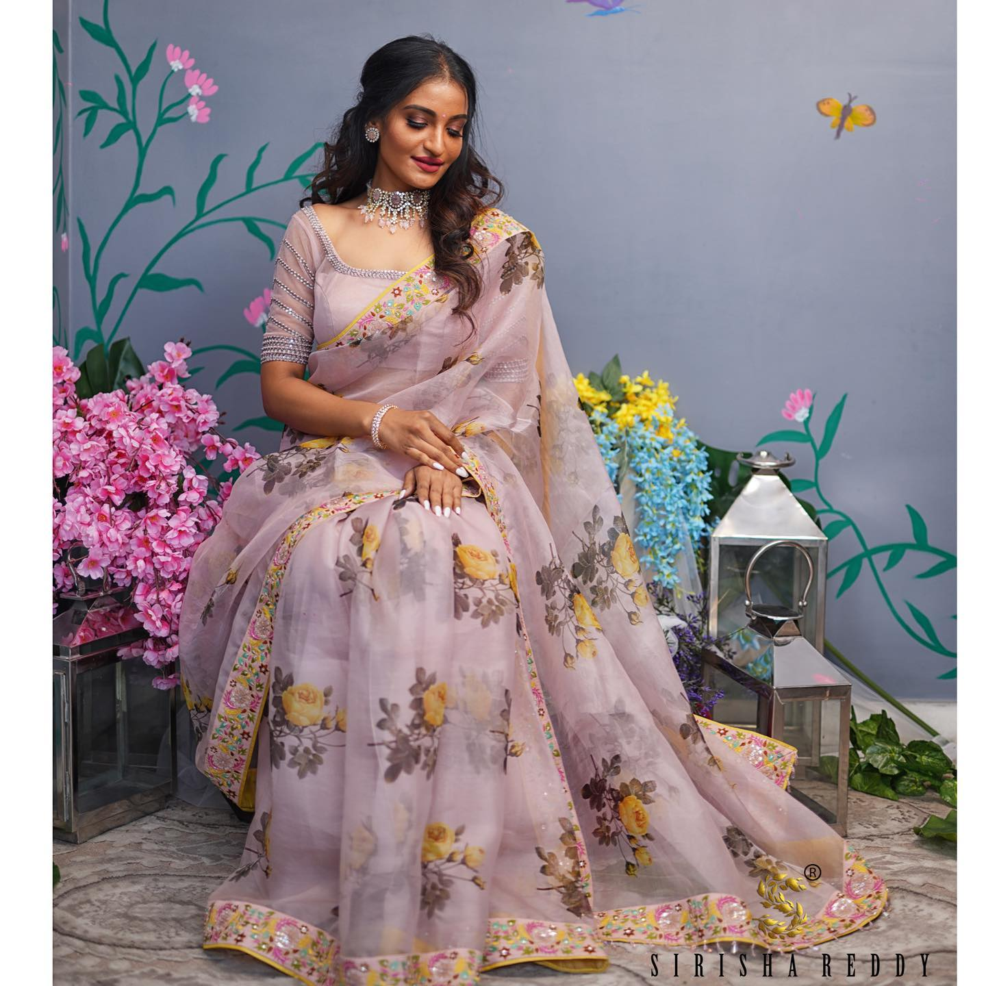Onion pink silk organza printed saree with thread work glass beads and sequin work border made to show the 6yards saree more beautiful. 2021-10-18