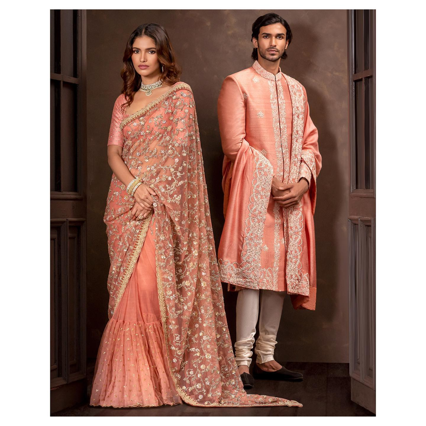 Gorgeous bridal designer saree with hand embroidery work allover. 2021-10-18