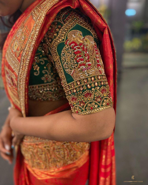Stunning bridal blouse sleeve with bride and groom hand embroidery thread and  kundan aari work. 2021-10-19