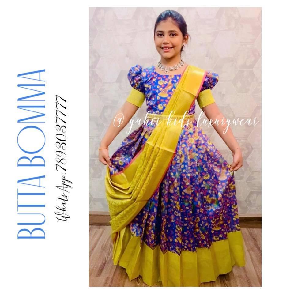Butta bomma series .... here is new stunner  kalamkari kids lehenga set.. . For Ordere DM or whatsapp 7893037777. 2021-10-20
