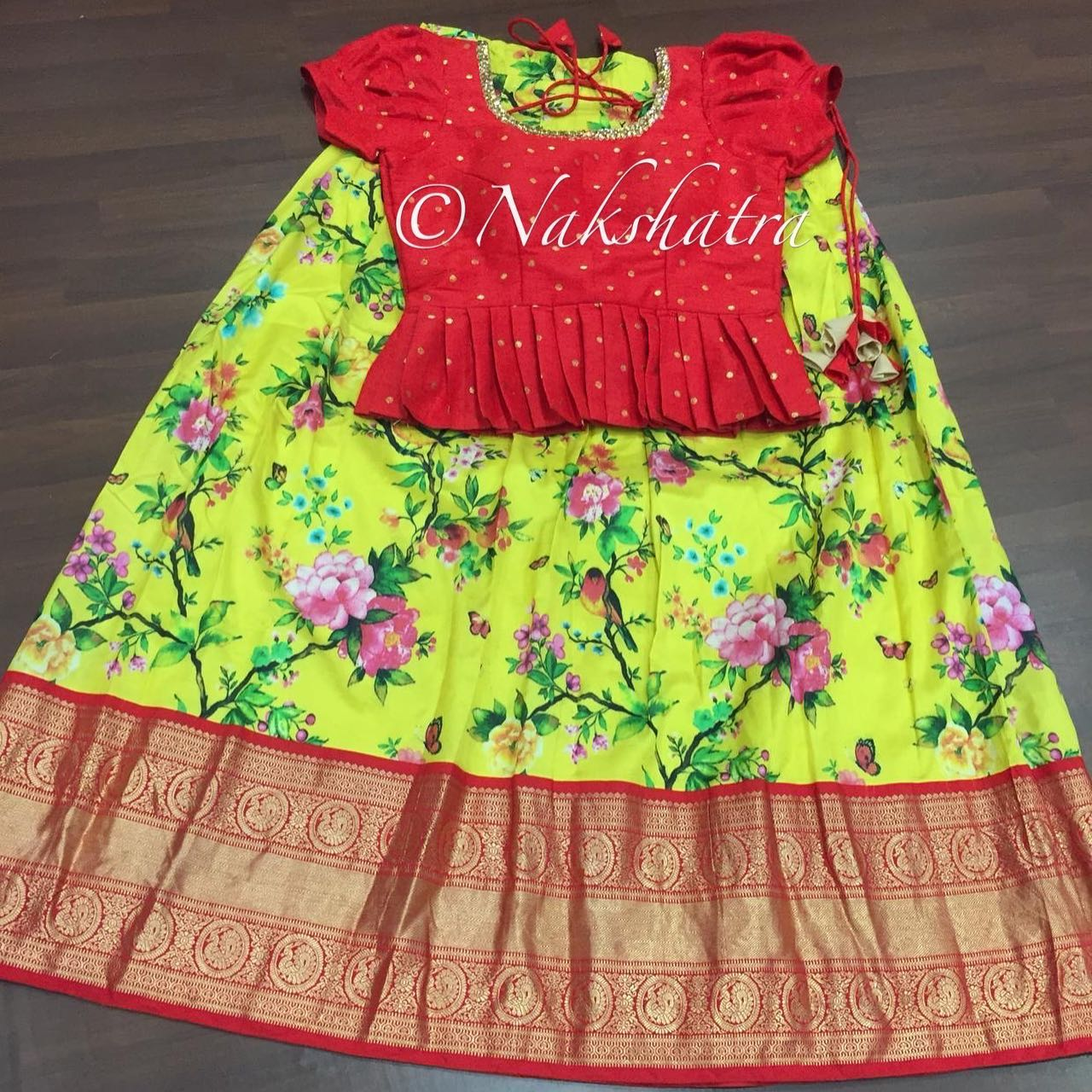 Kanchi floral lehangas paired with peplum blouses. 2021-10-20