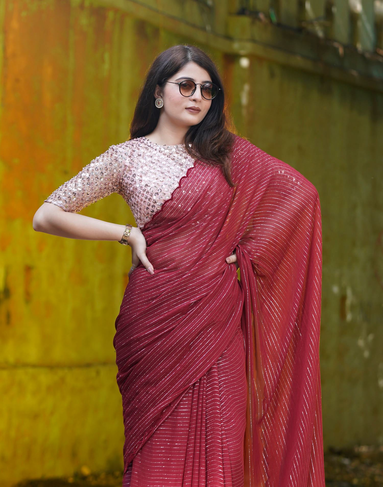 Wine Stripes. Price - Rs 6500. Wine silver zari striped georgette saree finished with scallop border and paired with a champagne sequin blouse. Unstitched blouse piece - Sequin and pearl worked blouse piece. Please whatsapp for orders - 7995481918 Email - privacollective@gmail.com. 2021-10-20