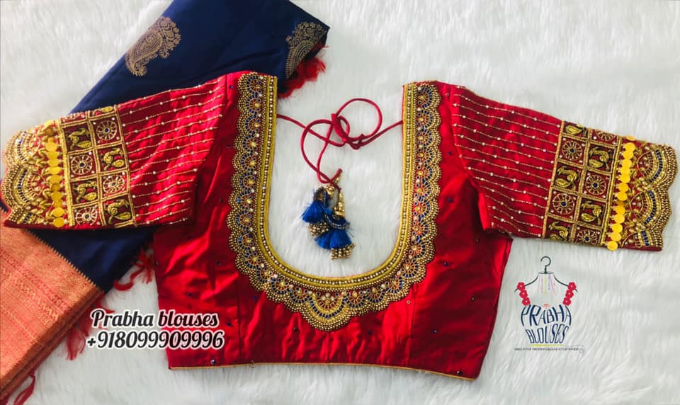 Gorgeous red color bridal blouse with bead and kundan maggam work. Bridal blouse with kasu work on sleeves. 2021-10-20