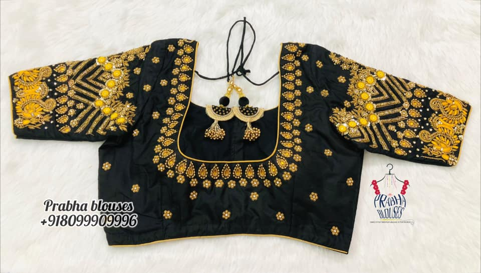 Gorgeous black bridal blouse with bead kundan and yellow thread maggam work.  2021-10-20