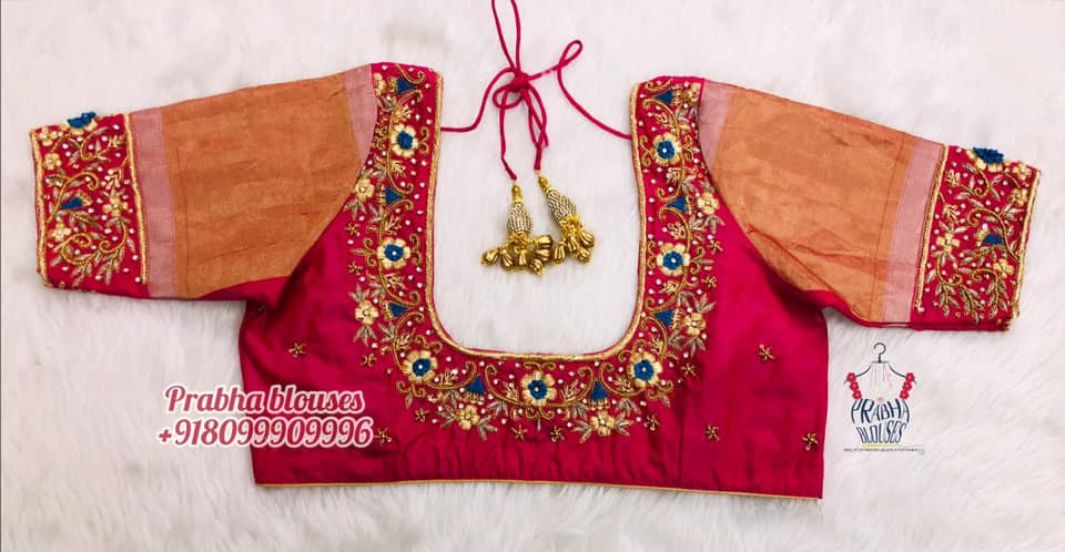 Gorgeous bridal blouse with floral and creeper hand embroidery bead and gold thread zardosi work on sleeves and neckline.  2021-10-20