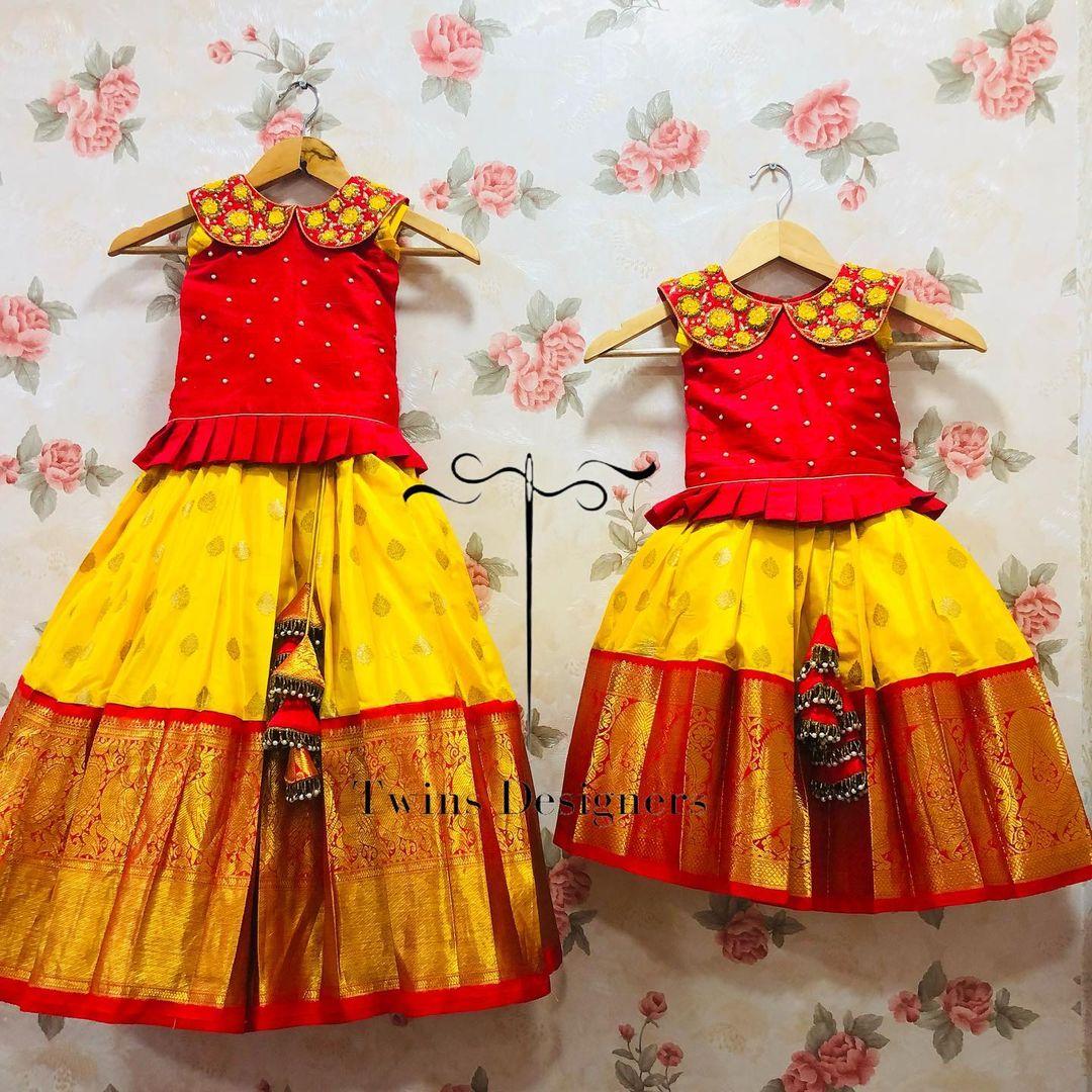 Traditional kids sister pattu combo. Stunning kids kajeevaram kids lehenga and long blouse. Blouse with hand embroidery work.  2021-10-20