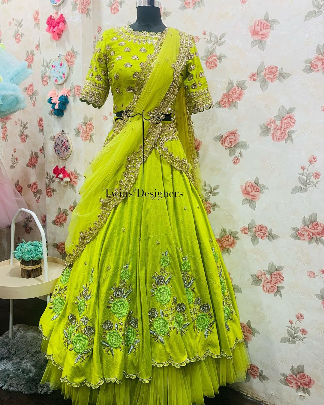 Gorgeous parrot green color layered bridal lehenga and blouse with net dupatta. Lehenga and blouse with hand embroidery work.  2021-10-20