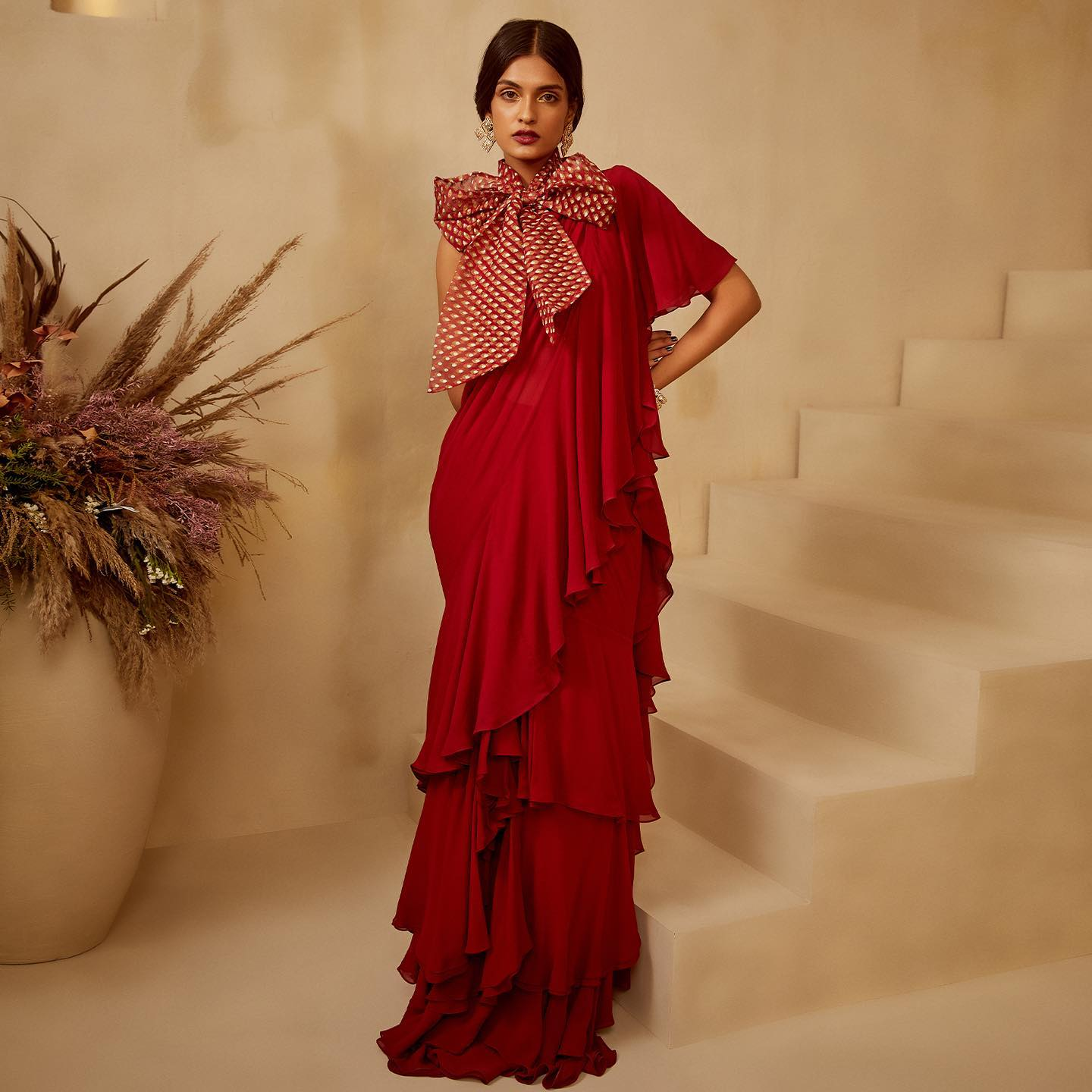 ZOYA.  Love | Life | Inspiration.  FESTIVE EDIT 2021.  Featuring uber chic layered ruffle saree with an organza bow-tie. 2021-10-21