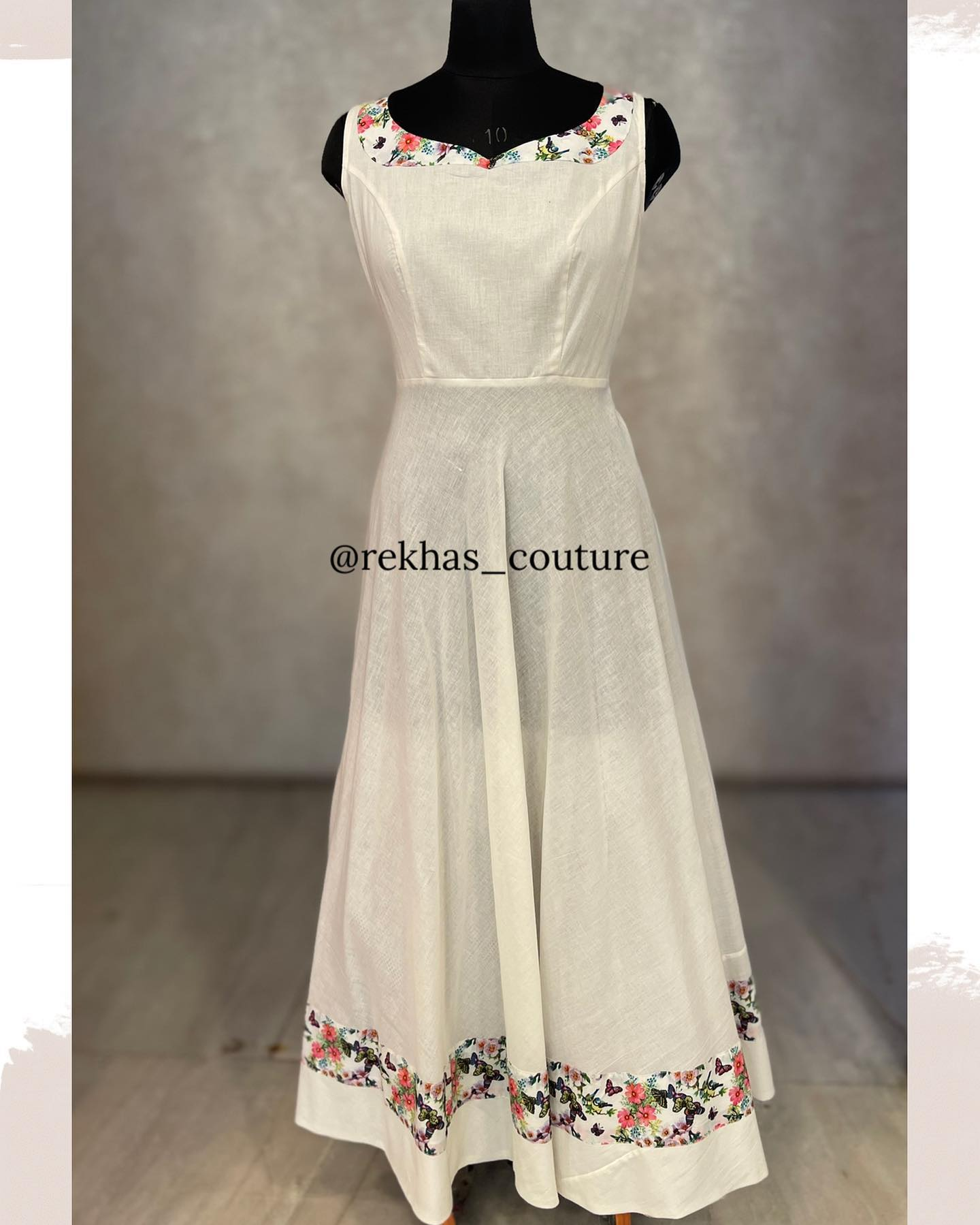 Deep Peace!!  Pure white off the moon to you .. Gorgeous pure white floor length long frock with floral pattern neckline and border. whatsapp  or contact  7893545554. 2021-10-21