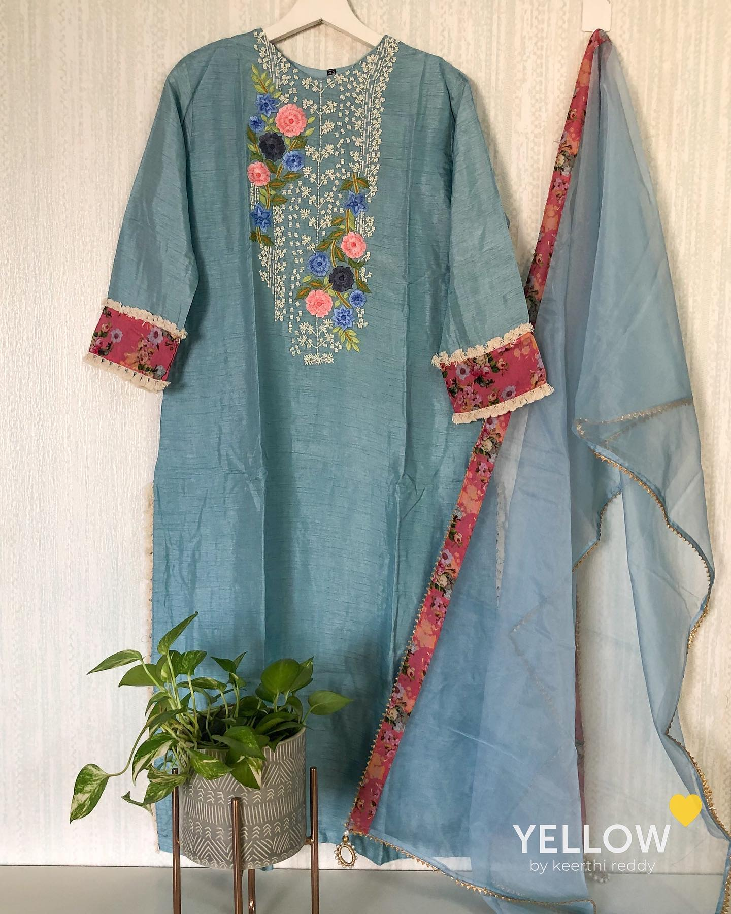 Rawsilk kurti with Pearl and thread embroidered yoke paired up with floral border and lace highlights .Comes with organza dupatta with floral borders and Pearl tassels. Size - L  XL Price - 3399 INR. . . Kindly WhatsApp to the below mentioned numbers for placing orders . India - +91- 7995038888 USA - +91- 8122137277… 2021-10-21