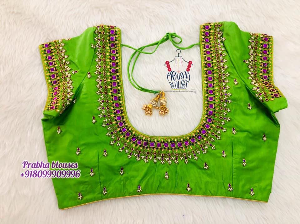 Gorgeous parrot green color bridal blouse with guttapusalu and kundan aari work. 2021-10-21