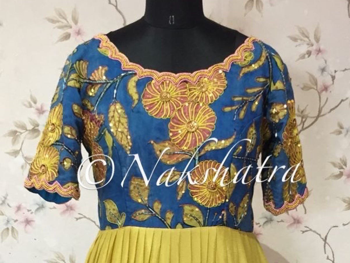 Crepe gorgette pleated long frock with beautiful pen kalamkari scalloped neck handwork yokes.  Available in 4 beautiful combos . 2021-10-22