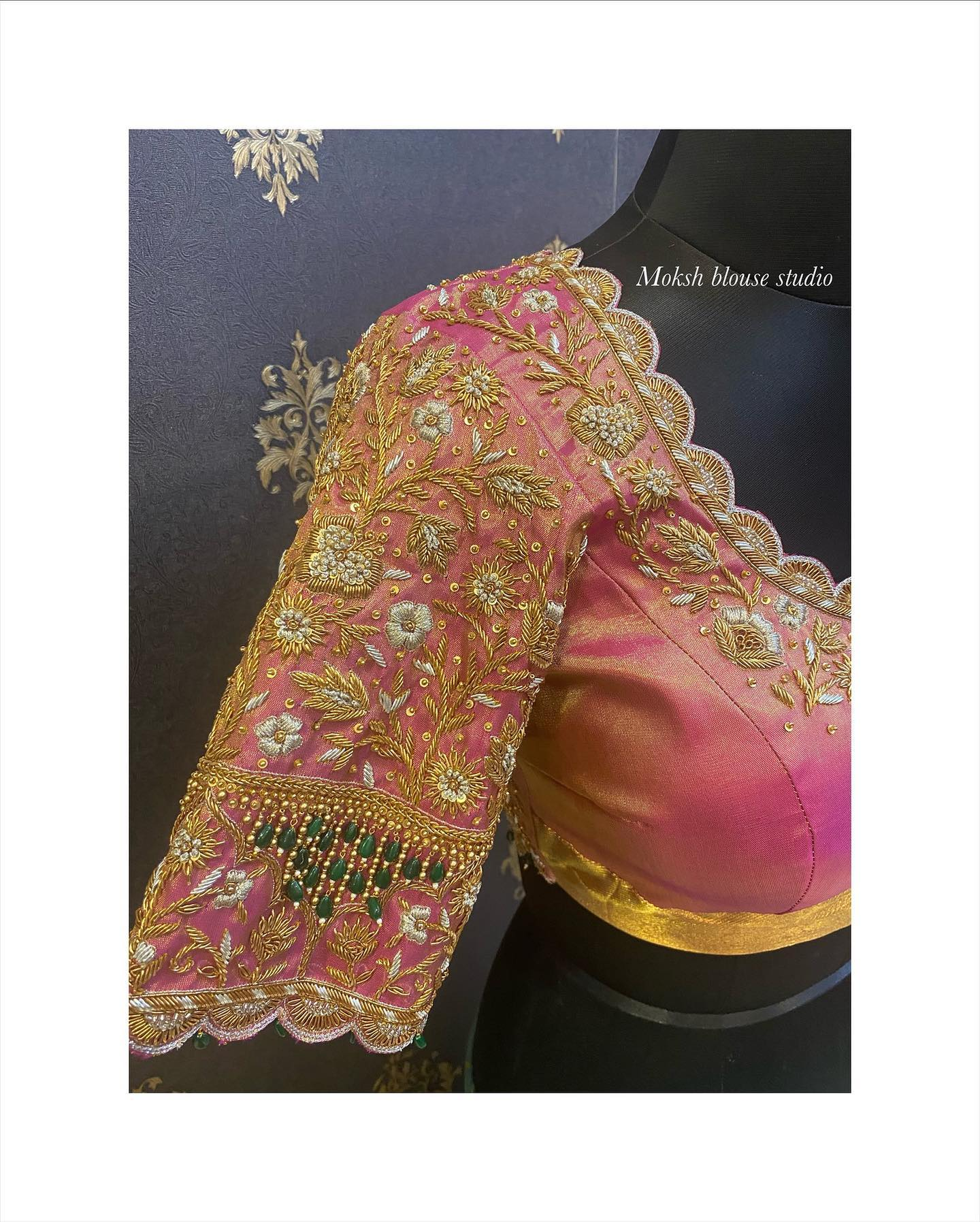 Gorgeous peach bridal blouse with floral and creeper hand embroidery gold thread and bead zardosi work.  2021-10-22