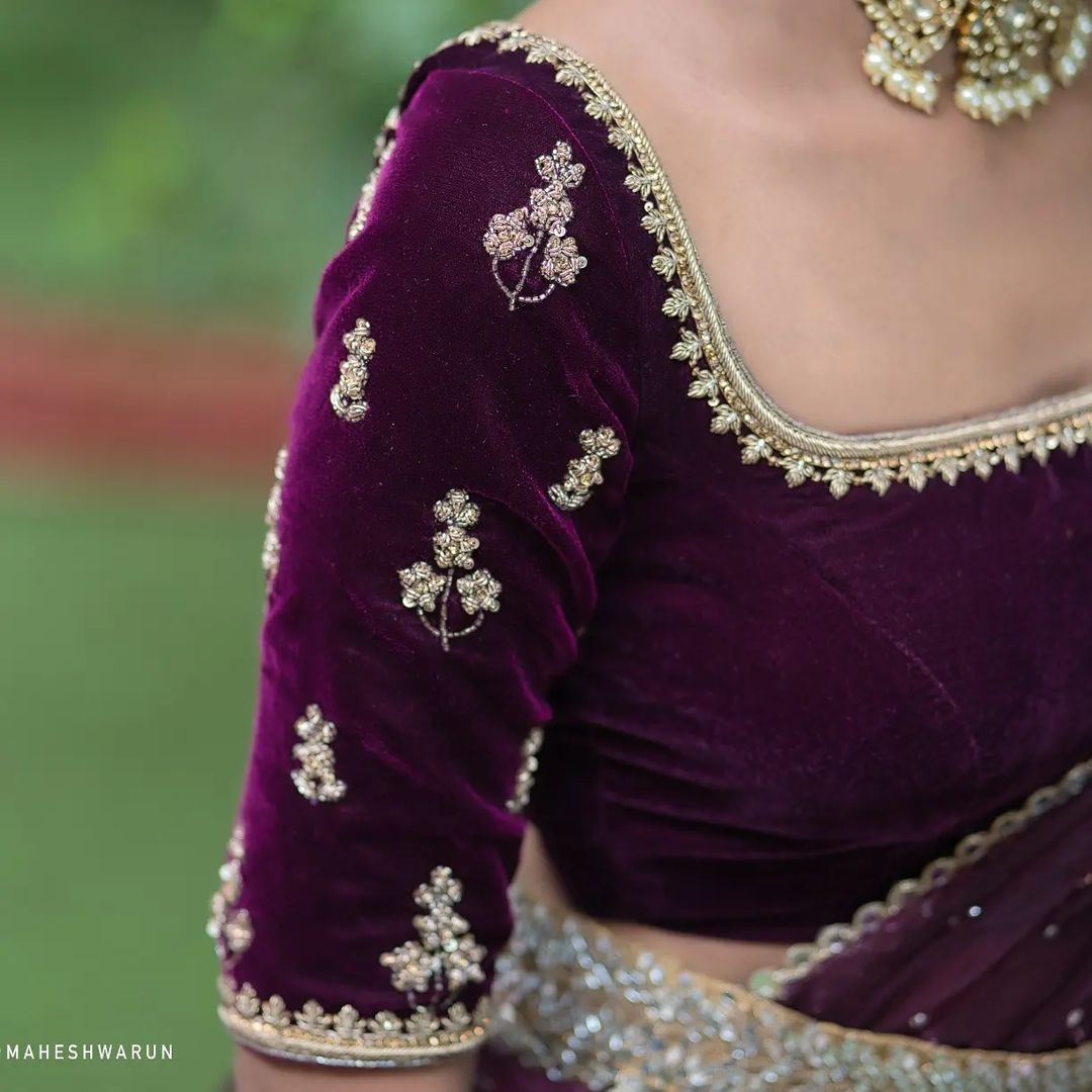 Stunning purple velvet cloth bridal blouse with gold thread maggam work on neckline and sleeves. 2021-10-22