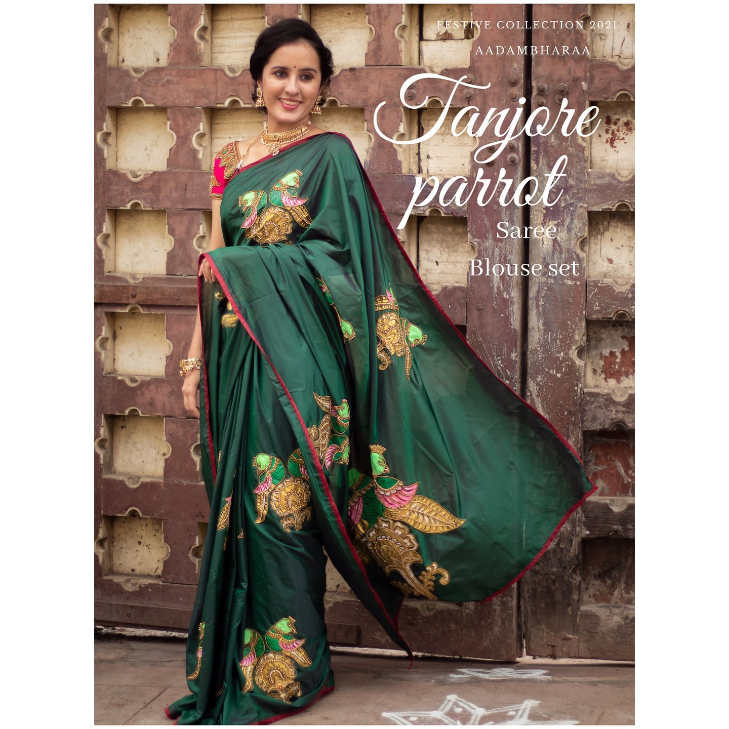 The festive collection of Aadambharaa inspired from vintage art of Tanjore paintings.   Introducing sarees and outfits that are embellished with the old word charm using colours techniques and art of Tanjore paintings on them. Grab your outfit today and flaunt your flair with Aadambharaa's Tanjore painting collection. Contact to purchase place an order +91 9840656145 . 2021-10-22