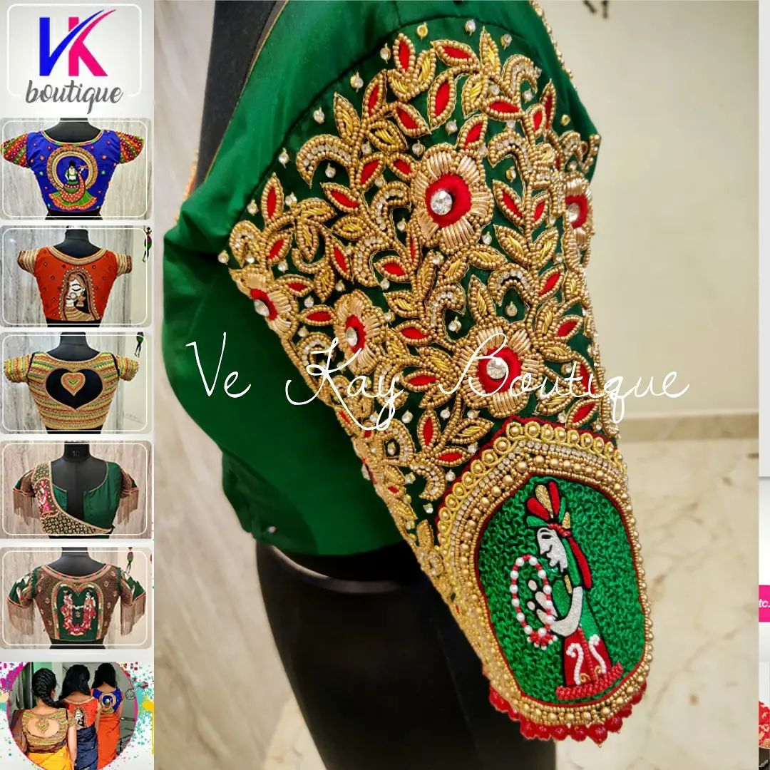 Gorgeous bottle green color bridal blouse sleeve with bead and gold thread aari work. 2021-10-22