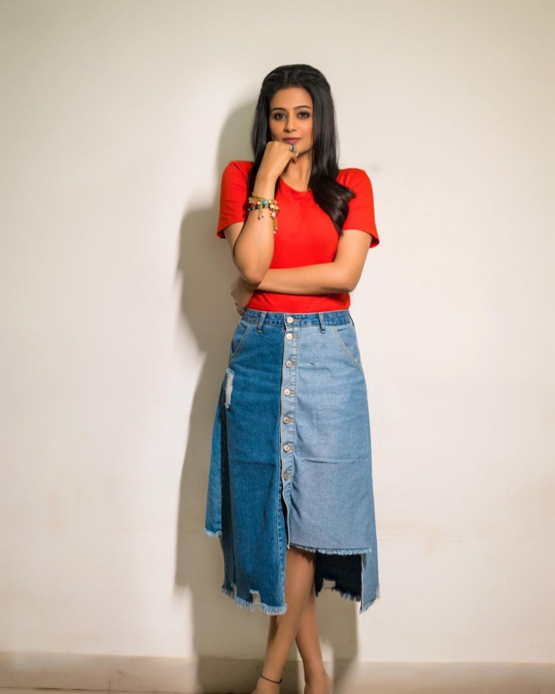 The struggle you are in today is developing the strength you need tomorrow.. Beautiful actress Priyamani in western outfit.  Top: Zara. Skirt : Made for her label. Bracelets : Being by ps. Styling : Mehek Shetty . 2021-10-22