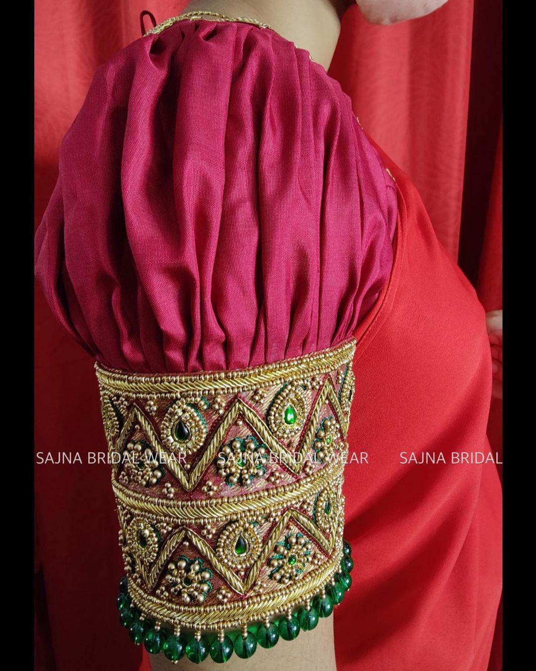 Gorgeous bridal blouse sleeve with bead aari work. 2021-10-22