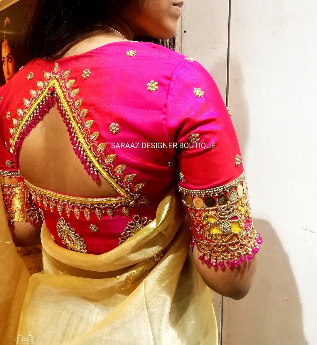 Gorgeous pink blouse with bead and kasu aari work. 2021-10-22